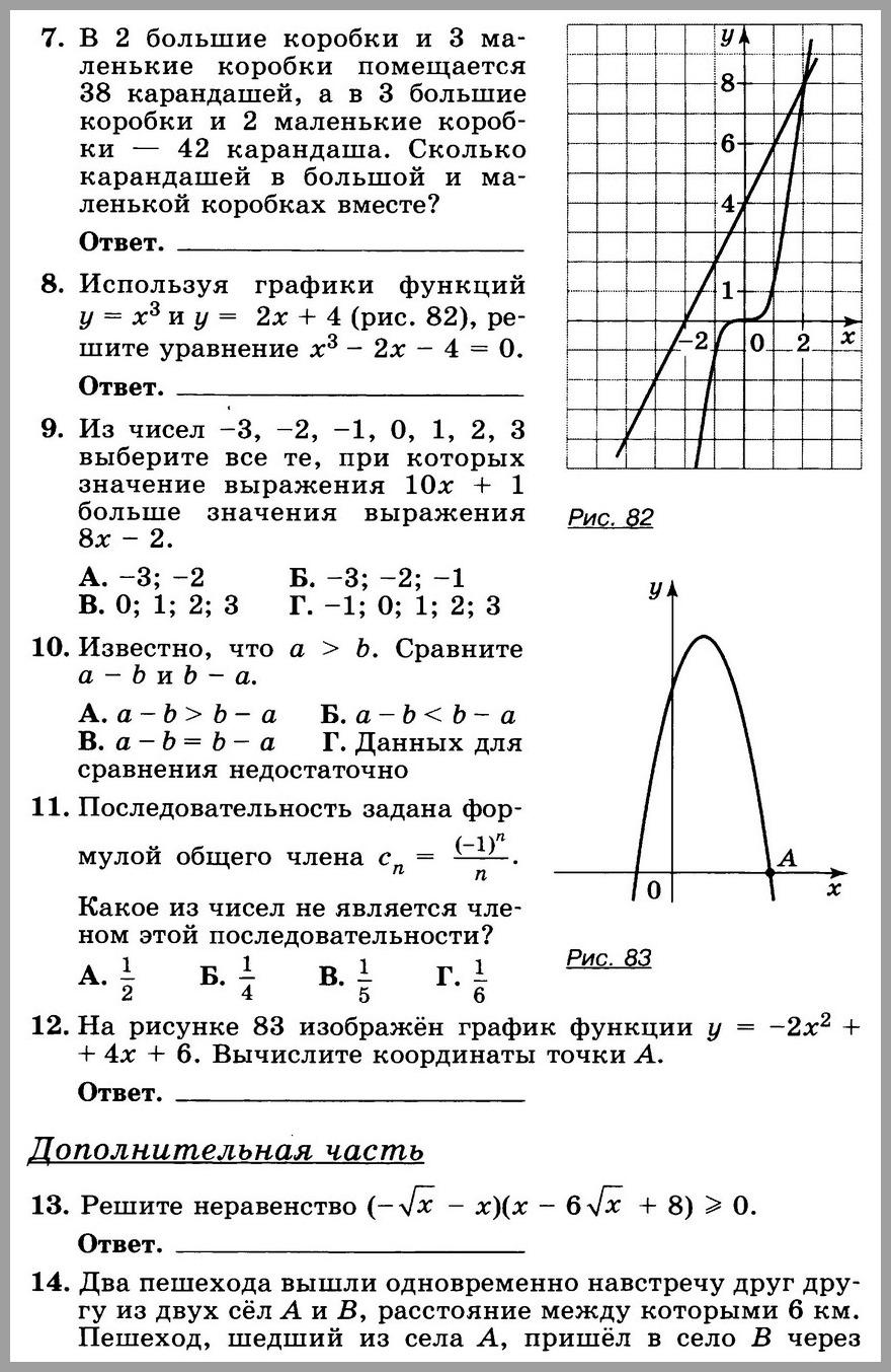 Алгебра 9 Никольский Итоговый тест