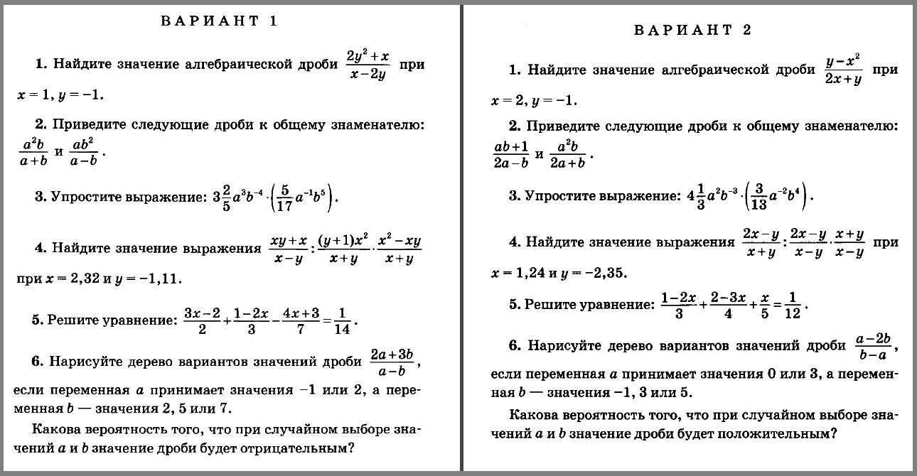 Контрольная работа 1. Алгебра 8 класс (УМК Мордкович и др.)