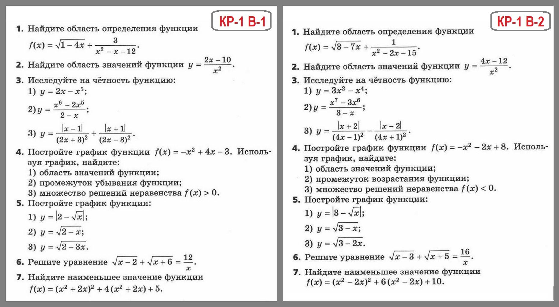 Алгебра контрольные работы 9 кл мордкович 3313