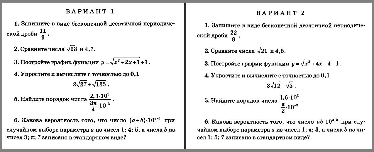 Алгебра 8 Мордкович - Попов КР-6