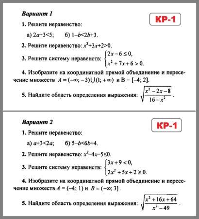 Алгебра 9 Мордкович - Попов. Контрольная работа 1