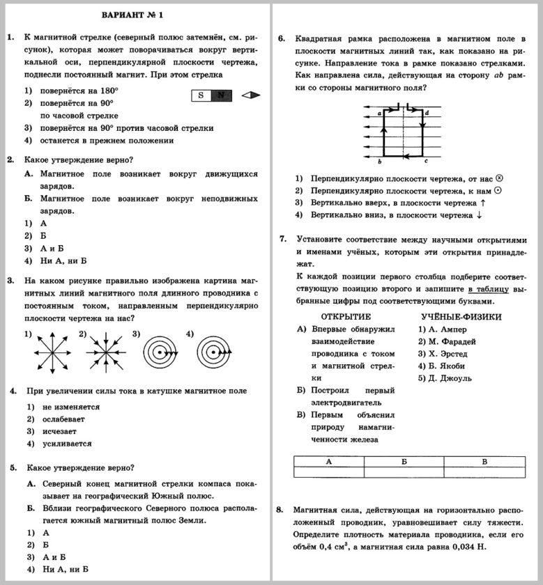 Физика 8 Перышкин. Контрольная работа № 4. Электромагнитные явления В1