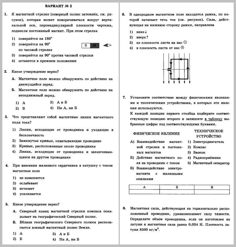 Физика 8 Перышкин. Контрольная работа № 4. Электромагнитные явления В2