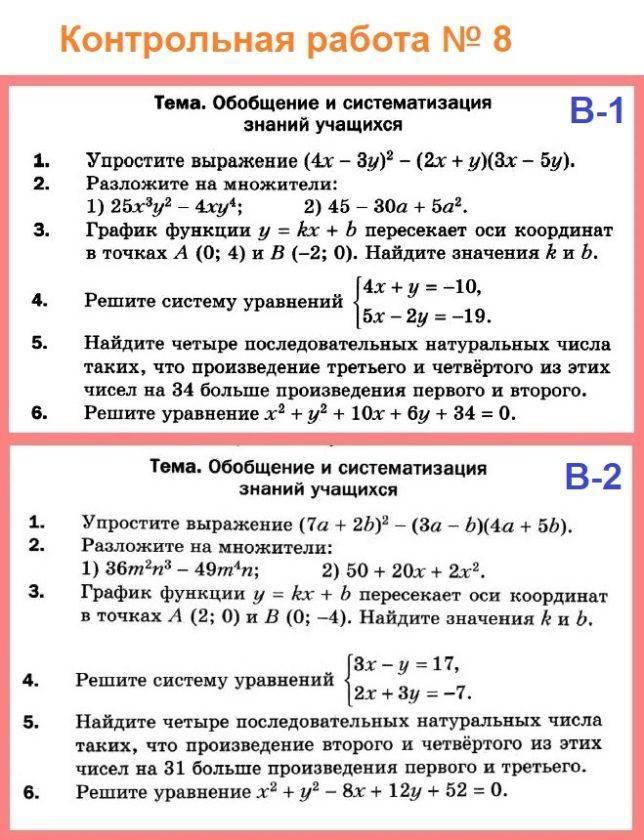 Алгебра 7 Контрольные Мерзляк Итоговая