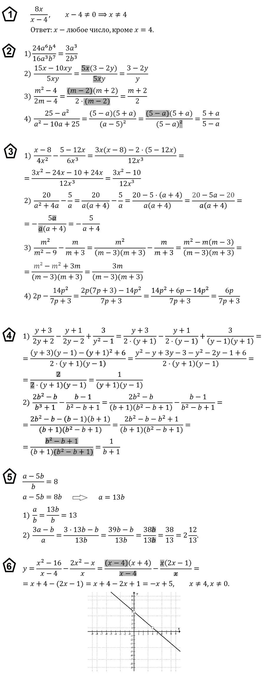 ОТВЕТЫ на КР-1 Алгебра 8 Мерзляк