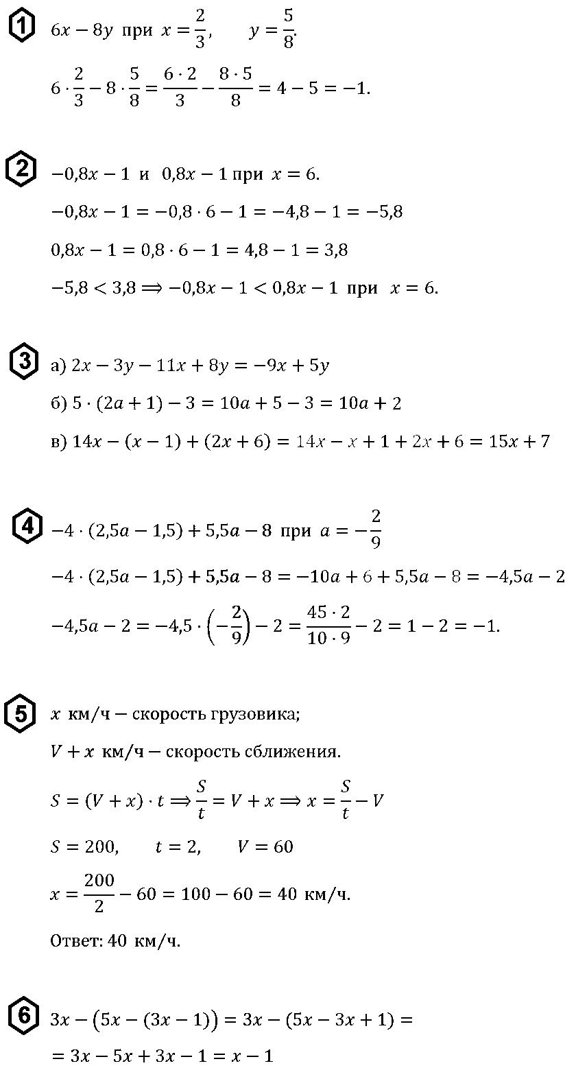 КР-1 Алгебра 7 Макарычев ОТВЕТЫ на В-1