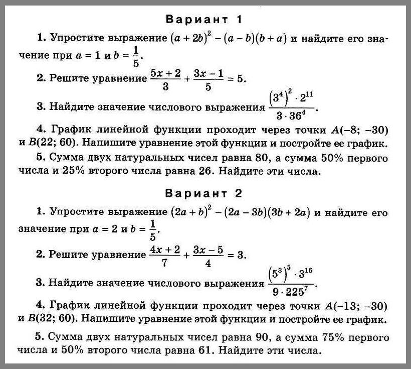 Алгебра 7 Итоговая контрольная (Рурукин)