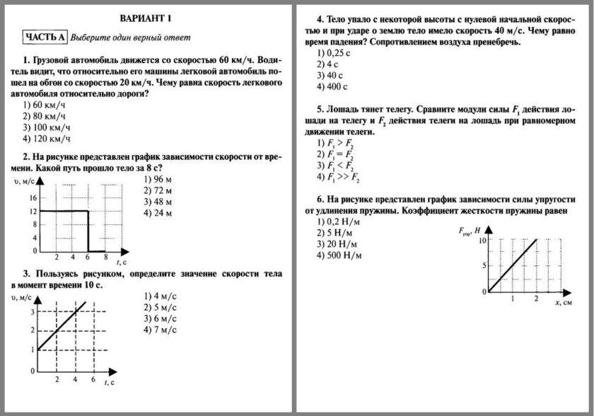 Итоговая контрольная работа за 9 класс по физике
