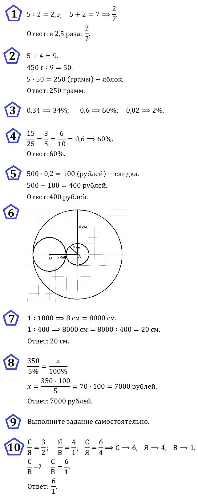 КР-4 Математика 6 Отношения Окружность