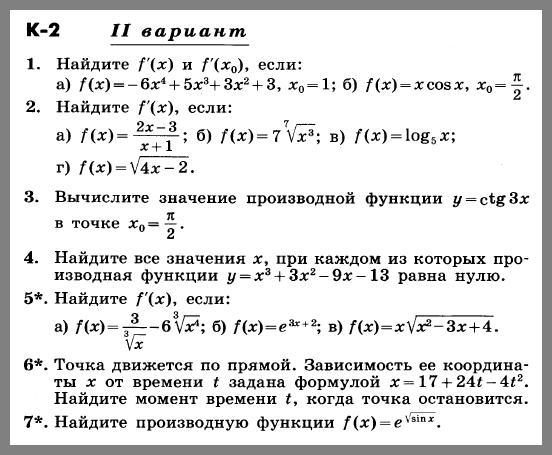 Алгебра 11 Никольский Контрольная 2