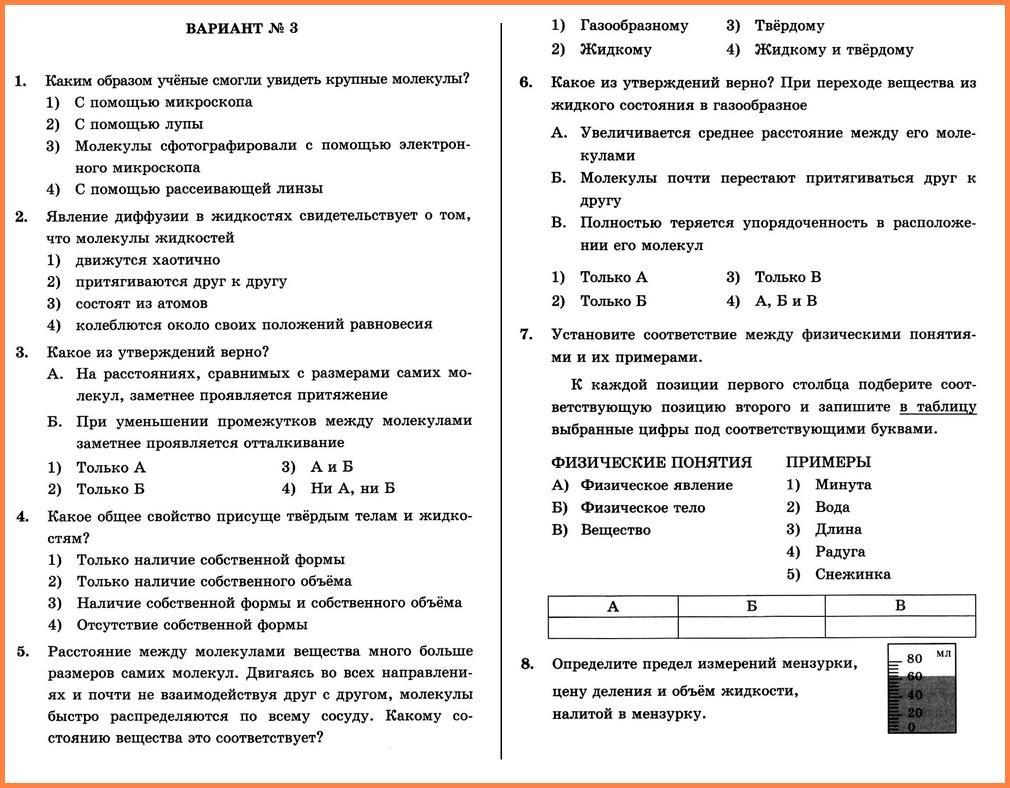 Физика 7 Перышкин КР-1 В-3