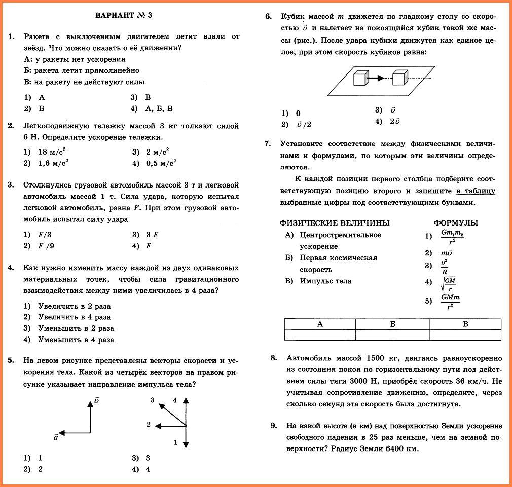 Физика 9 Перышкин КР-2 В3