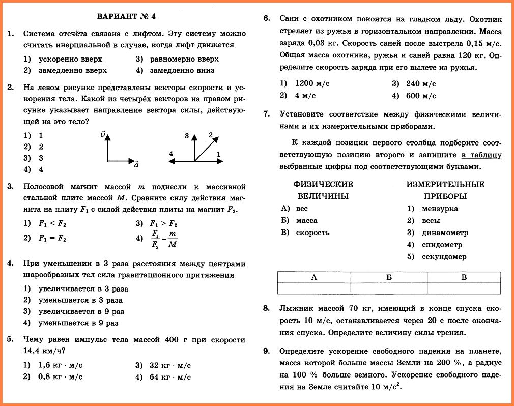 Физика 9 Перышкин КР-2 В4