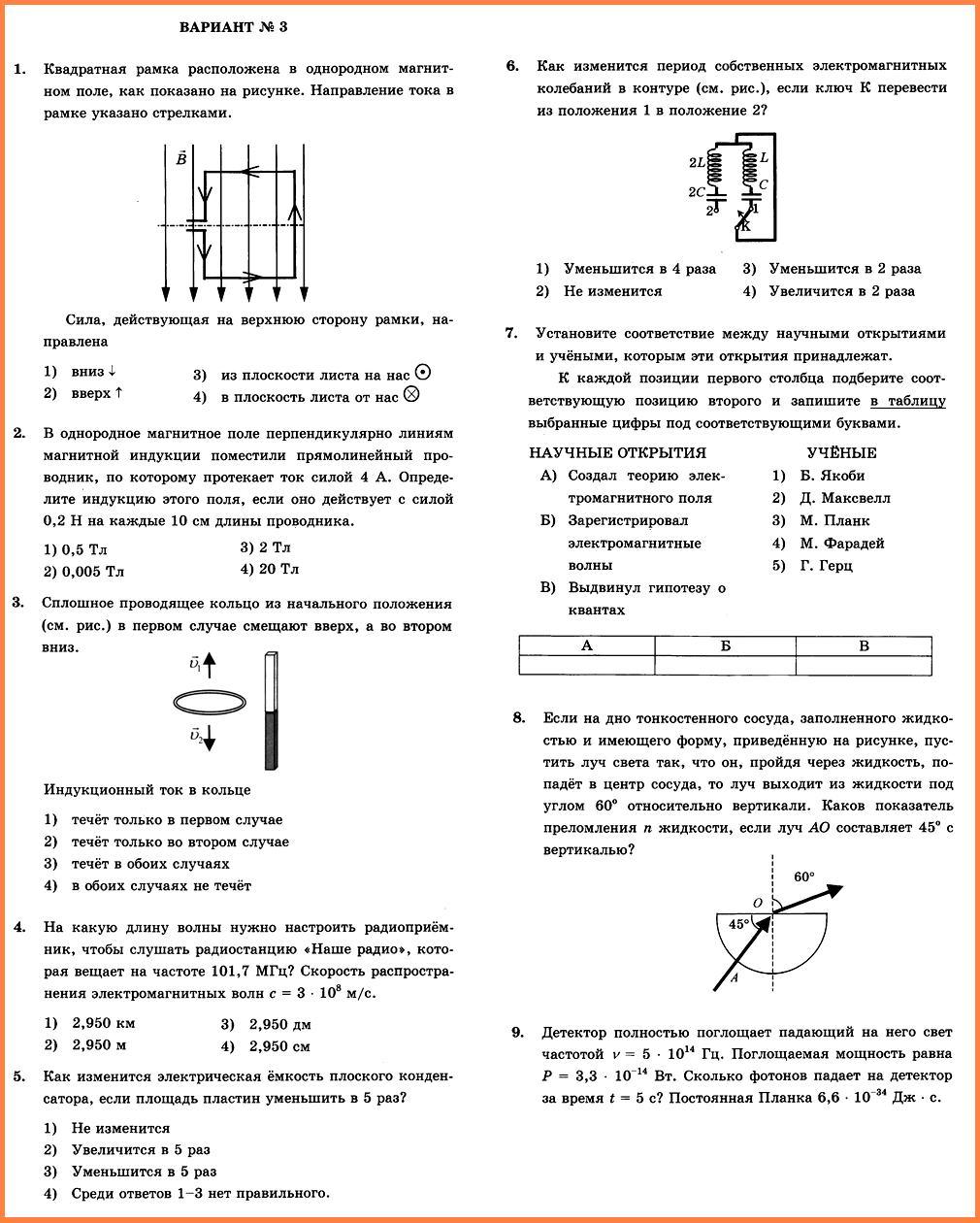 Физика 9 Перышкин КР-4 В3